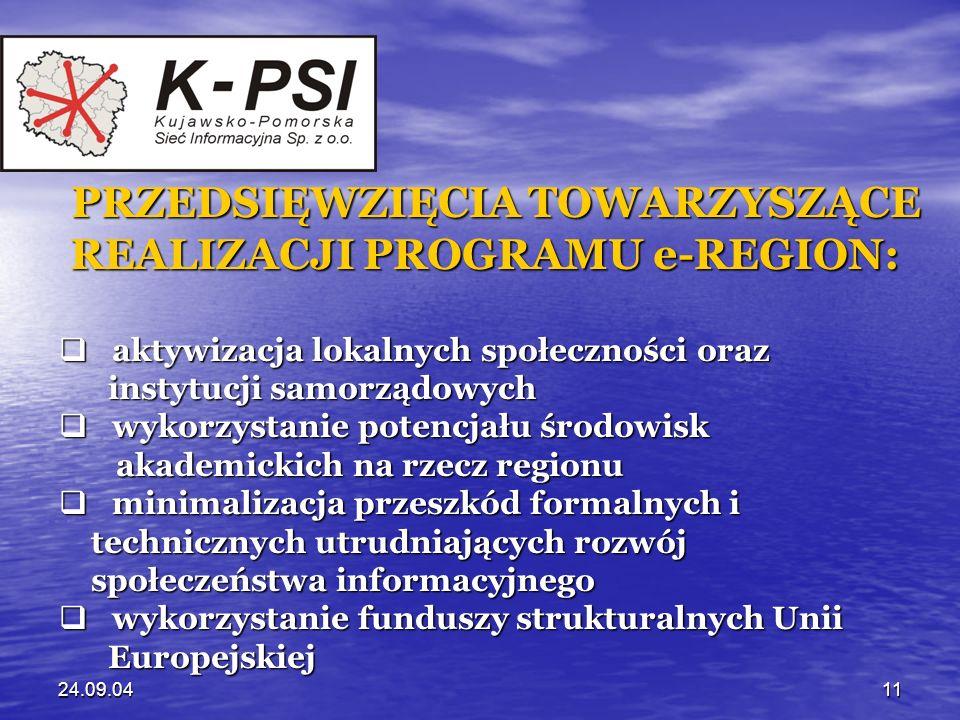 24.09.0411 PRZEDSIĘWZIĘCIA TOWARZYSZĄCE REALIZACJI PROGRAMU e-REGION: REALIZACJI PROGRAMU e-REGION: aktywizacja lokalnych społeczności oraz aktywizacj