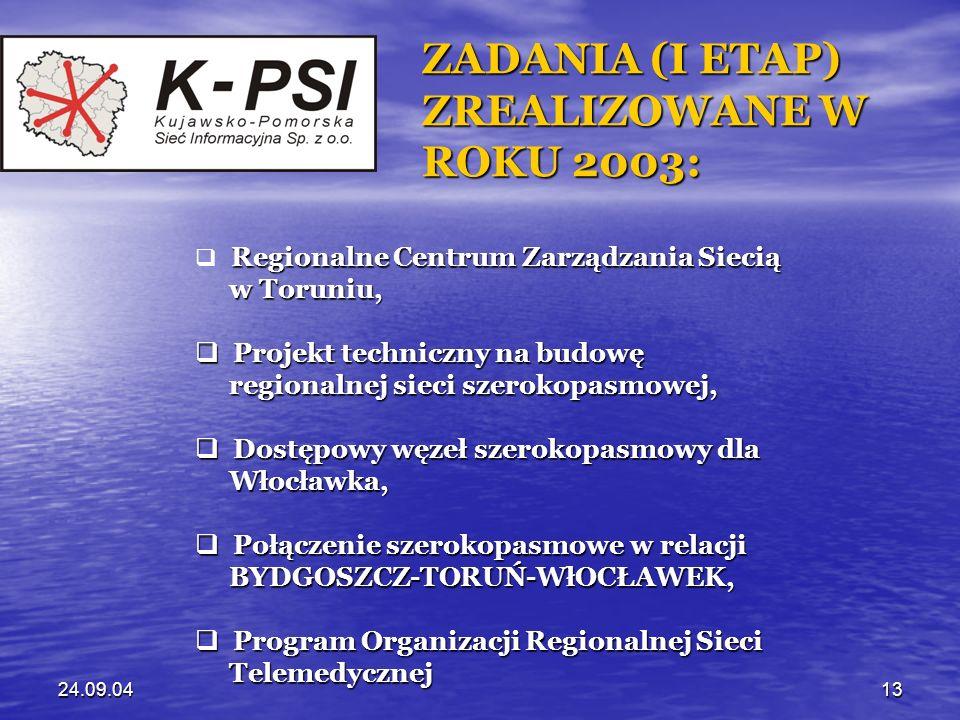 24.09.0413 ZADANIA (I ETAP) ZREALIZOWANE W ROKU 2003: Regionalne Centrum Zarządzania Siecią w Toruniu, w Toruniu, Projekt techniczny na budowę Projekt