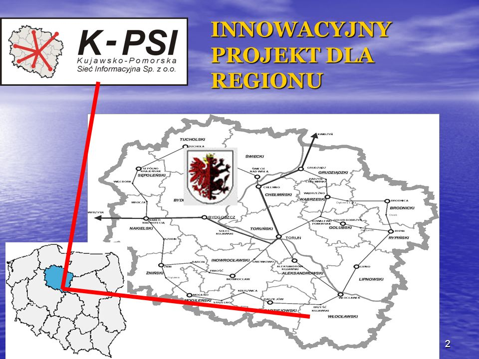 24.09.0413 ZADANIA (I ETAP) ZREALIZOWANE W ROKU 2003: Regionalne Centrum Zarządzania Siecią w Toruniu, w Toruniu, Projekt techniczny na budowę Projekt techniczny na budowę regionalnej sieci szerokopasmowej, regionalnej sieci szerokopasmowej, Dostępowy węzeł szerokopasmowy dla Dostępowy węzeł szerokopasmowy dla Włocławka, Włocławka, Połączenie szerokopasmowe w relacji Połączenie szerokopasmowe w relacji BYDGOSZCZ-TORUŃ-WłOCŁAWEK, BYDGOSZCZ-TORUŃ-WłOCŁAWEK, Program Organizacji Regionalnej Sieci Program Organizacji Regionalnej Sieci Telemedycznej Telemedycznej