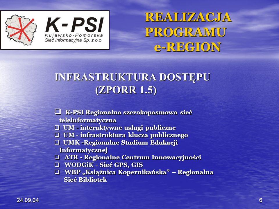 24.09.047 REALIZACJA REALIZACJA PROGRAMU PROGRAMU e-REGION e-REGION INICJATYWY W ZAKRESIE INICJATYWY W ZAKRESIE e-GOVERNMENT e-GOVERNMENT K-PSI – zintegrowana platforma dostępu K-PSI – zintegrowana platforma dostępu szerokopasmowego do usług e-Government szerokopasmowego do usług e-Government UM -interaktywne usługi publiczne - system UM -interaktywne usługi publiczne - system elektronicznego obiegu dokumentów elektronicznego obiegu dokumentów UMK – szkolenia administracji publicznej UMK – szkolenia administracji publicznej WBP – Polska Biblioteka Internetowa WBP – Polska Biblioteka Internetowa
