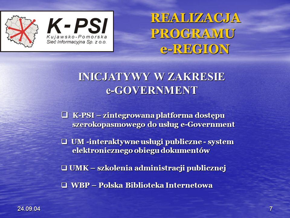 24.09.048 REALIZACJA REALIZACJA PROGRAMU PROGRAMU e-REGION e-REGION INICJATYWY W ZAKRESIE e-LEARNING UMK – Regionalne Studium Edukacji UMK – Regionalne Studium Edukacji Informatycznej Informatycznej UMK – Kujawsko-Pomorska Biblioteka UMK – Kujawsko-Pomorska Biblioteka Cyfrowa Cyfrowa UM – Centrum Badawczo-Szkoleniowe UM – Centrum Badawczo-Szkoleniowe GIS (współpraca UMK+ATR+TARR) GIS (współpraca UMK+ATR+TARR)
