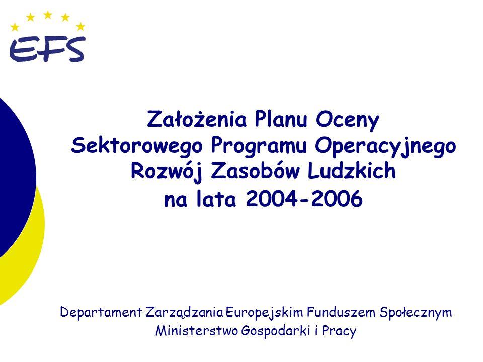 1 Departament Zarządzania Europejskim Funduszem Społecznym Ministerstwo Gospodarki i Pracy Założenia Planu Oceny Sektorowego Programu Operacyjnego Rozwój Zasobów Ludzkich na lata 2004-2006