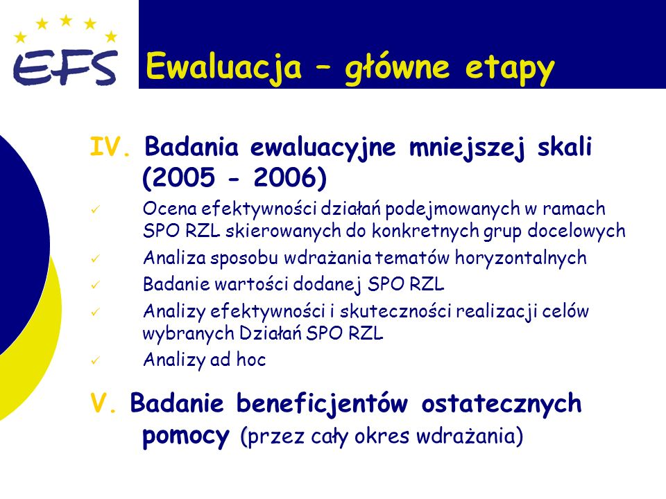 6 Ewaluacja – główne etapy IV.