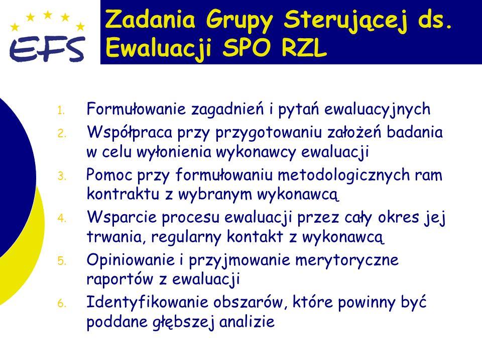 8 Zadania Grupy Sterującej ds. Ewaluacji SPO RZL 1.