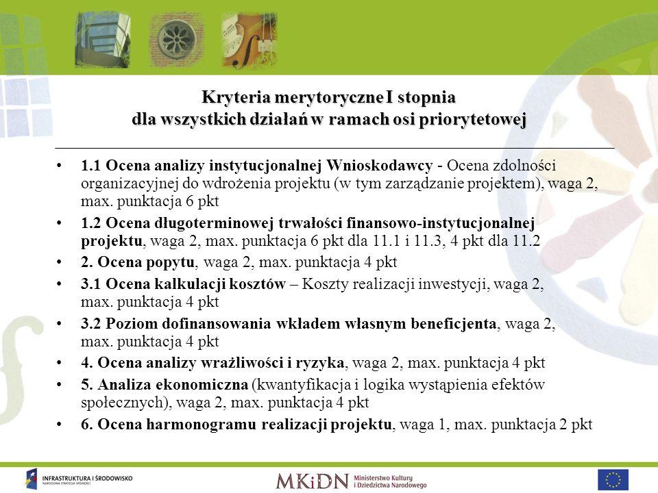 Kryteria merytoryczne I stopnia dla wszystkich działań w ramach osi priorytetowej 1.1 Ocena analizy instytucjonalnej Wnioskodawcy - Ocena zdolności or