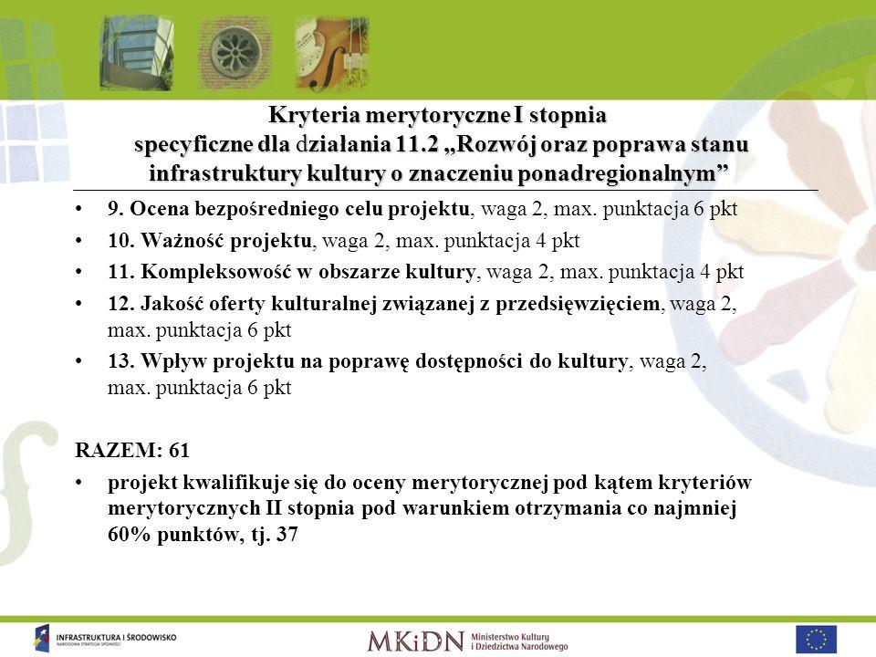 Kryteria merytoryczne I stopnia specyficzne dla działania 11.2 Rozwój oraz poprawa stanu infrastruktury kultury o znaczeniu ponadregionalnym 9. Ocena