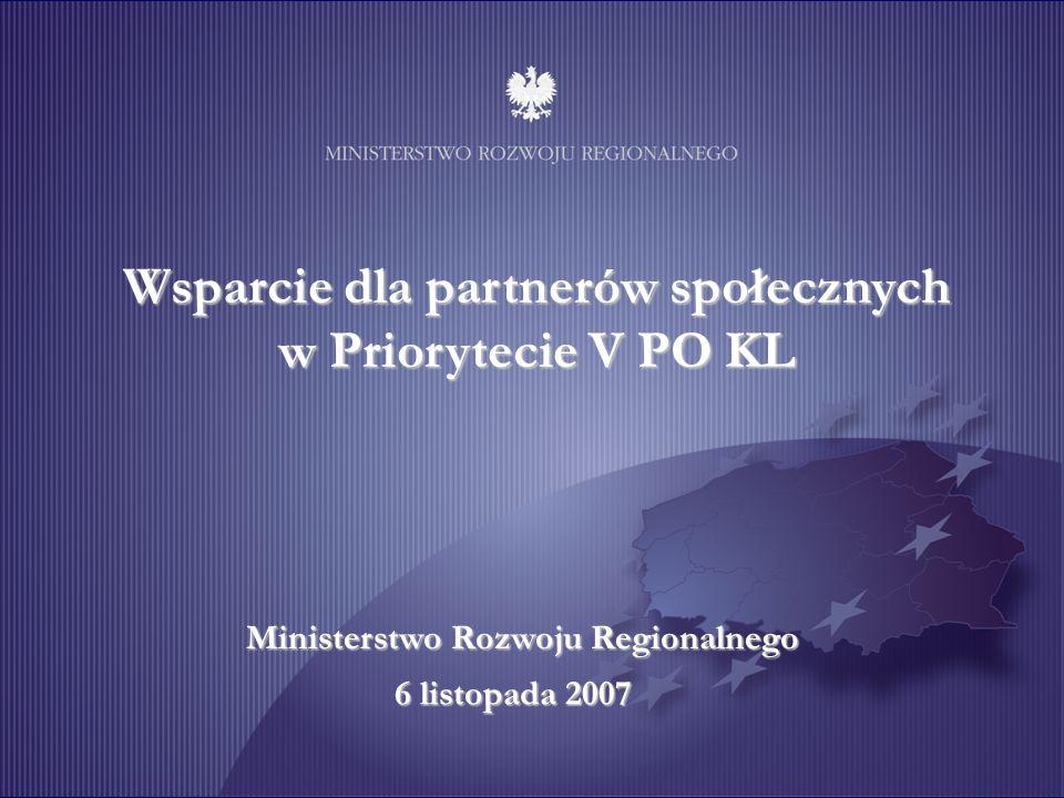 Wsparcie dla partnerów społecznych w Priorytecie V PO KL Ministerstwo Rozwoju Regionalnego 6 listopada 2007
