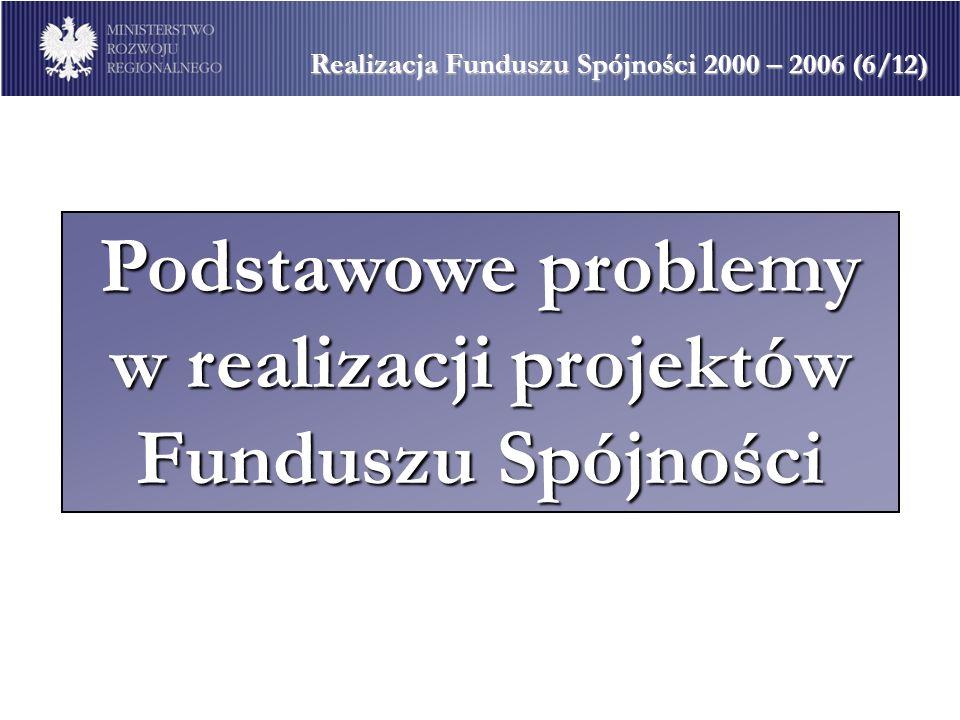 Podstawowe problemy w realizacji projektów Funduszu Spójności Realizacja Funduszu Spójności 2000 – 2006 (6/12)