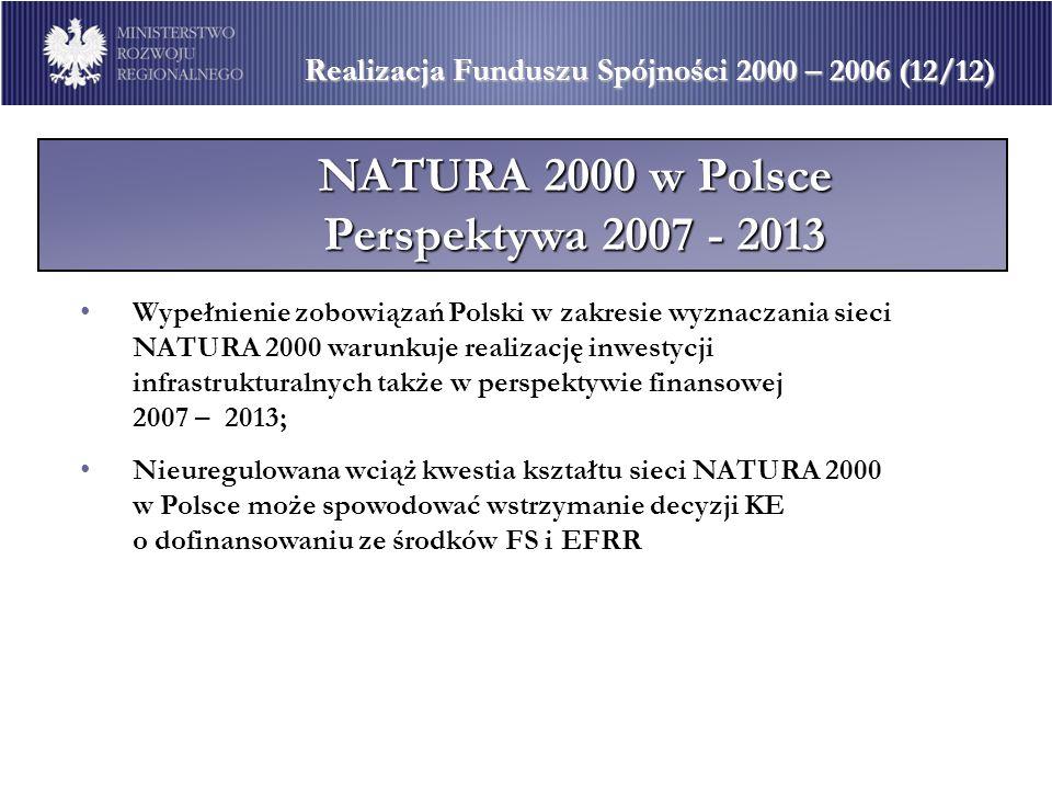 Realizacja Funduszu Spójności 2000 – 2006 (12/12) NATURA 2000 w Polsce Perspektywa 2007 - 2013 Wypełnienie zobowiązań Polski w zakresie wyznaczania si