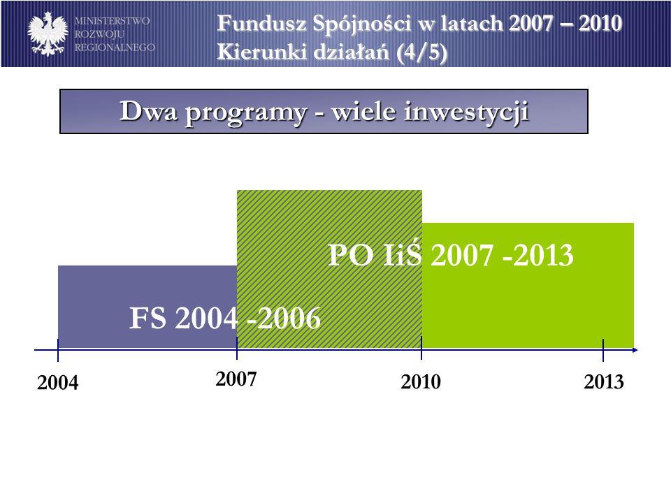 Dwa programy - wiele inwestycji Fundusz Spójności w latach 2007 – 2010 Kierunki działań (4/5) 2004 2007 20102013 PO IiŚ 2007 -2013 FS 2004 -2006