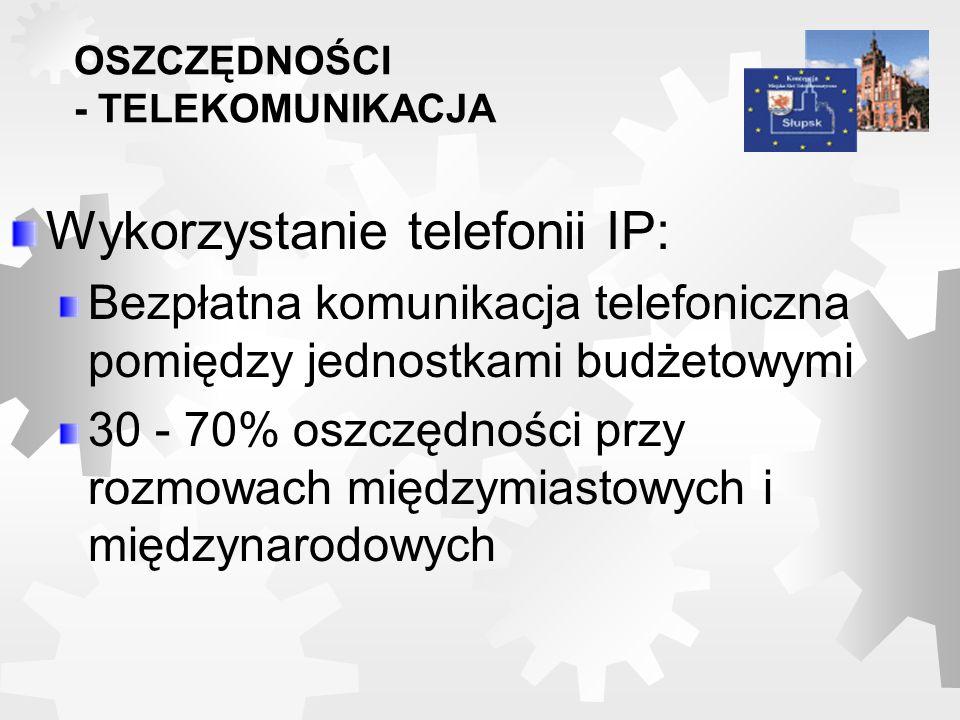 Wykorzystanie telefonii IP: Bezpłatna komunikacja telefoniczna pomiędzy jednostkami budżetowymi 30 - 70% oszczędności przy rozmowach międzymiastowych