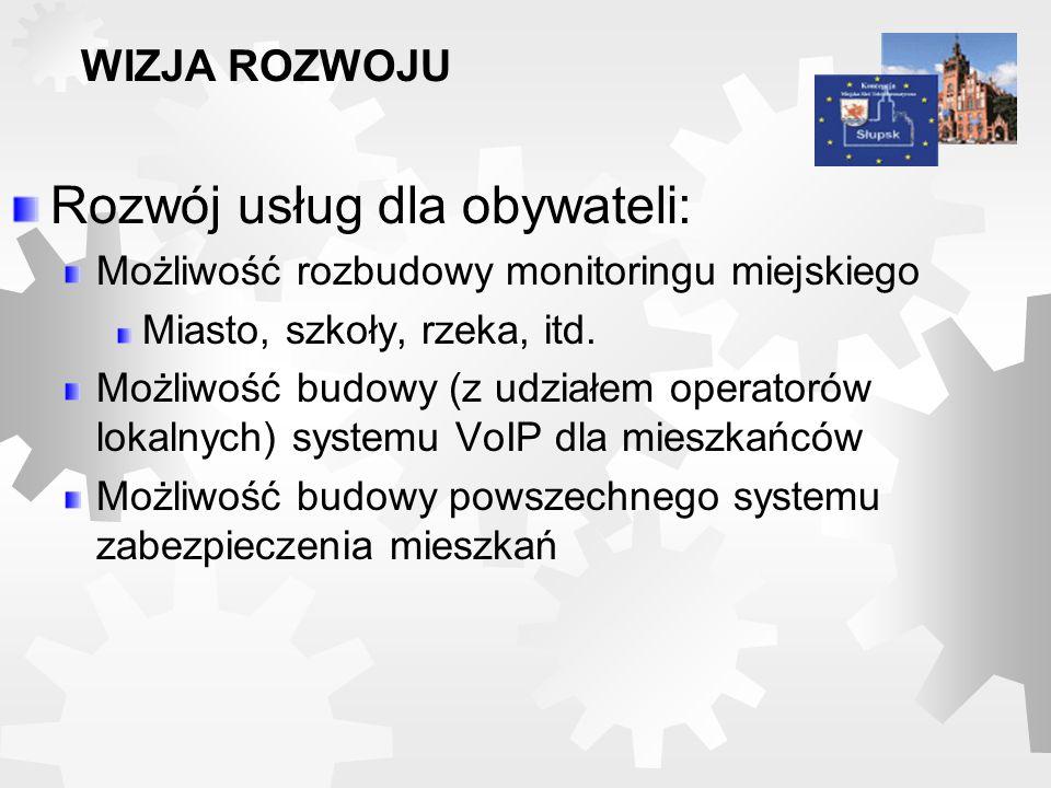 Rozwój usług dla obywateli: Możliwość rozbudowy monitoringu miejskiego Miasto, szkoły, rzeka, itd. Możliwość budowy (z udziałem operatorów lokalnych)