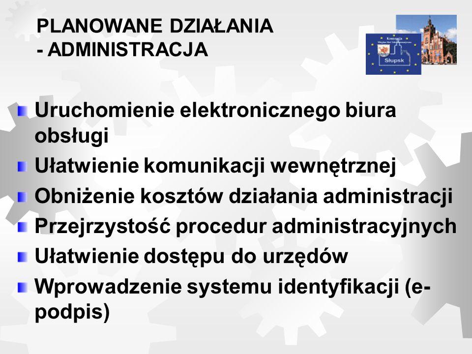 Uruchomienie elektronicznego biura obsługi Ułatwienie komunikacji wewnętrznej Obniżenie kosztów działania administracji Przejrzystość procedur adminis