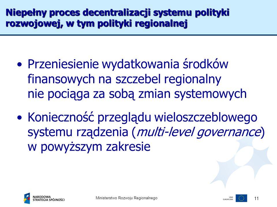 Ministerstwo Rozwoju Regionalnego 11 Przeniesienie wydatkowania środków finansowych na szczebel regionalny nie pociąga za sobą zmian systemowych Konie