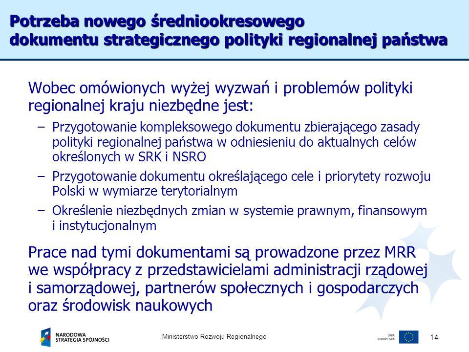 Ministerstwo Rozwoju Regionalnego 14 Potrzeba nowego średniookresowego dokumentu strategicznego polityki regionalnej państwa Wobec omówionych wyżej wy