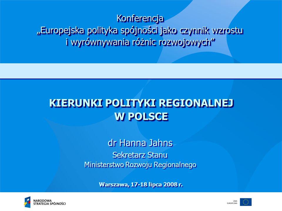Ministerstwo Rozwoju Regionalnego 13 Rozwój obszarów wiejskich jest jednym z pól, w których niezbędne jest zastosowanie zintegrowanego podejścia zarówno na poziomie polityki rozwoju prowadzonej w Polsce, jak i poszczególnych polityk wspólnotowych Weryfikacja podejścia do obszarów wiejskich