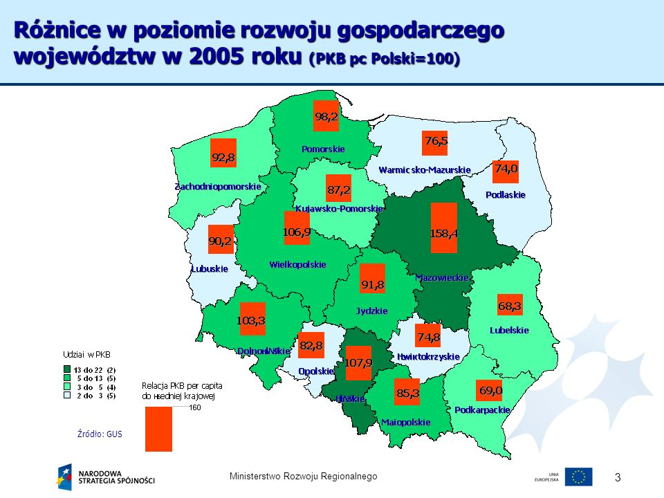 Ministerstwo Rozwoju Regionalnego 4 Wpływ funduszy unijnych na gospodarki regionalne Fundusze UE w relacji do PKB (średnia w latach 2004-2015) Źródło: Badanie wpływu NPR…., dr T.