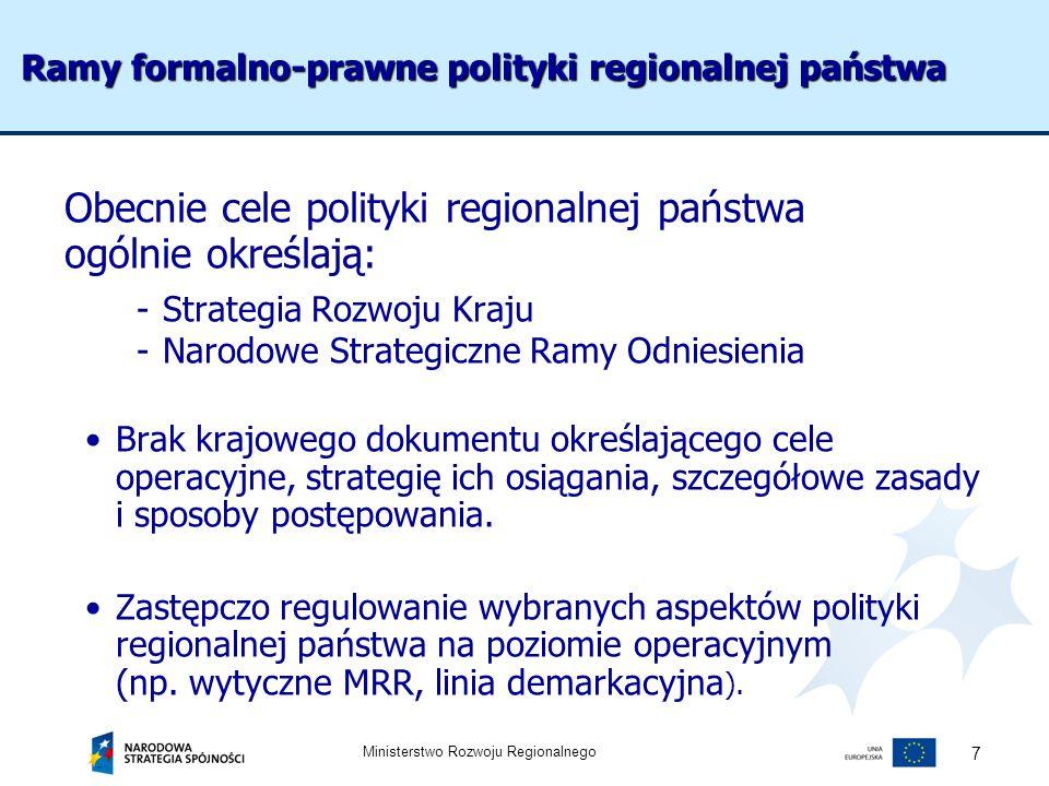 Ministerstwo Rozwoju Regionalnego 7 Ramy formalno-prawne polityki regionalnej państwa Obecnie cele polityki regionalnej państwa ogólnie określają: -St