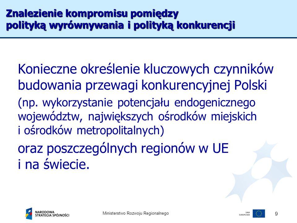 Ministerstwo Rozwoju Regionalnego 10 W kontekście wypracowania nowej jakości instrumentów polityki regionalnej należy oprzeć nową rolę kontraktów wojewódzkich na formule umowy i powiązać je z określeniem innych niż środki UE źródeł finansowania oraz wypracowaniem zasad koordynacji wydatków w ramach realizacji polityk sektorowych Refleksji wymaga określenie możliwości oraz warunków prowadzenia polityki regionalnej w innych układach niż wojewódzki (makroregionalny, obszary metropolitalne, subregiony, obszary międzywojewódzkie) Weryfikacja instrumentów polityki regionalnej