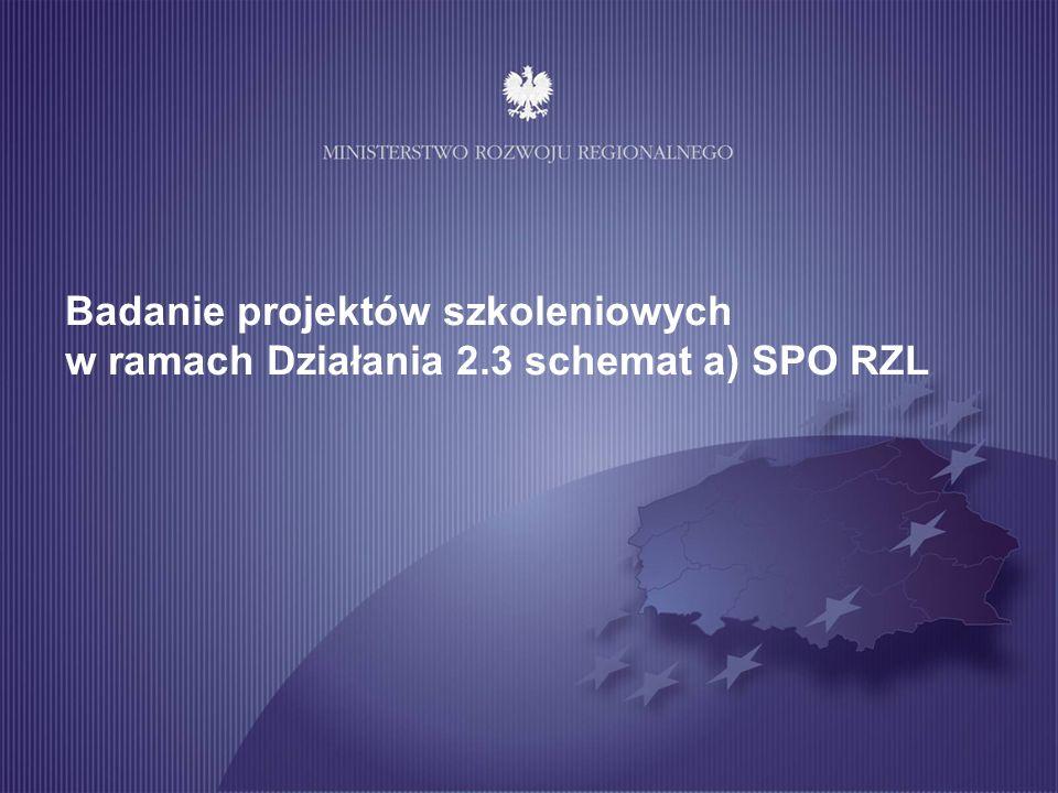 Badanie projektów szkoleniowych w ramach Działania 2.3 schemat a) SPO RZL
