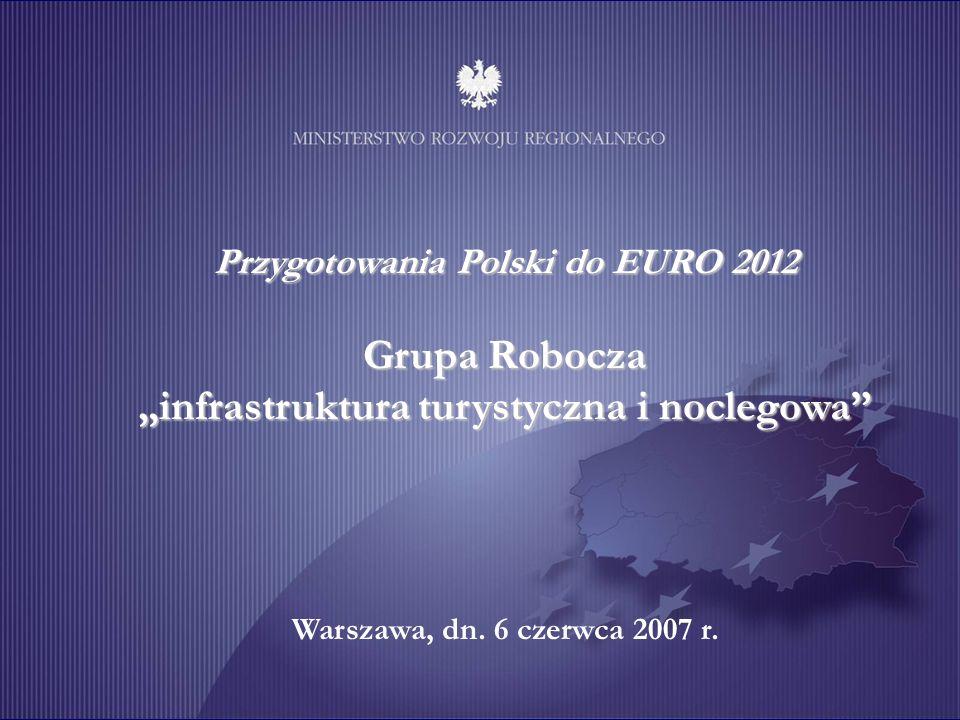 Unia Europejska Projekt współfinansowany ze środków Europejskiego Funduszu Rozwoju Regionalnego 1 Przygotowania Polski do EURO 2012 Grupa Robocza infrastruktura turystyczna i noclegowa Warszawa, dn.