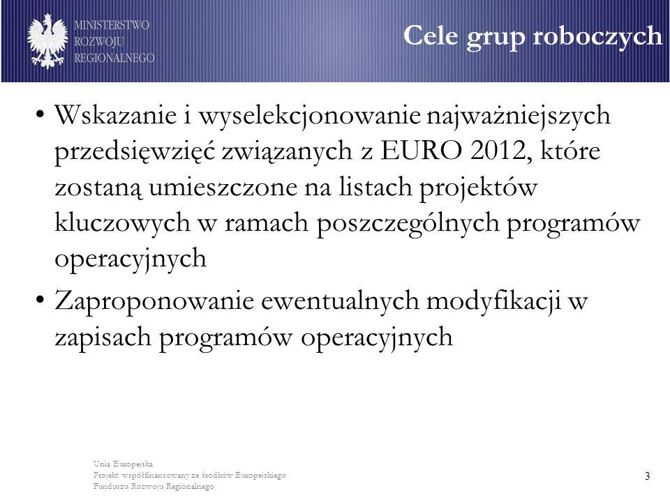 Unia Europejska Projekt współfinansowany ze środków Europejskiego Funduszu Rozwoju Regionalnego 3 Wskazanie i wyselekcjonowanie najważniejszych przedsięwzięć związanych z EURO 2012, które zostaną umieszczone na listach projektów kluczowych w ramach poszczególnych programów operacyjnych Zaproponowanie ewentualnych modyfikacji w zapisach programów operacyjnych Cele grup roboczych