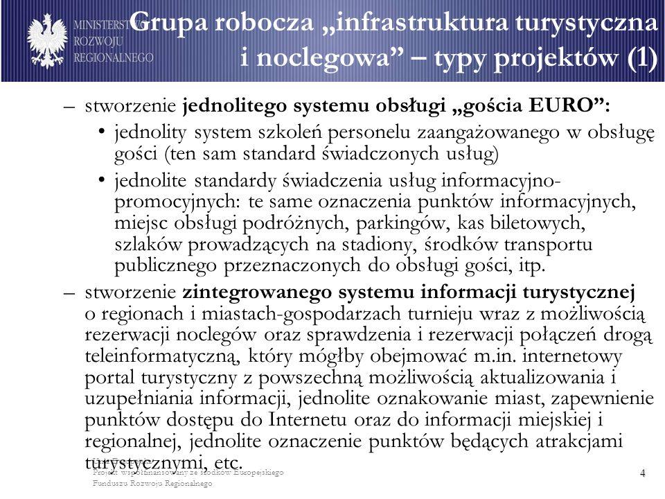 Unia Europejska Projekt współfinansowany ze środków Europejskiego Funduszu Rozwoju Regionalnego 4 –stworzenie jednolitego systemu obsługi gościa EURO: