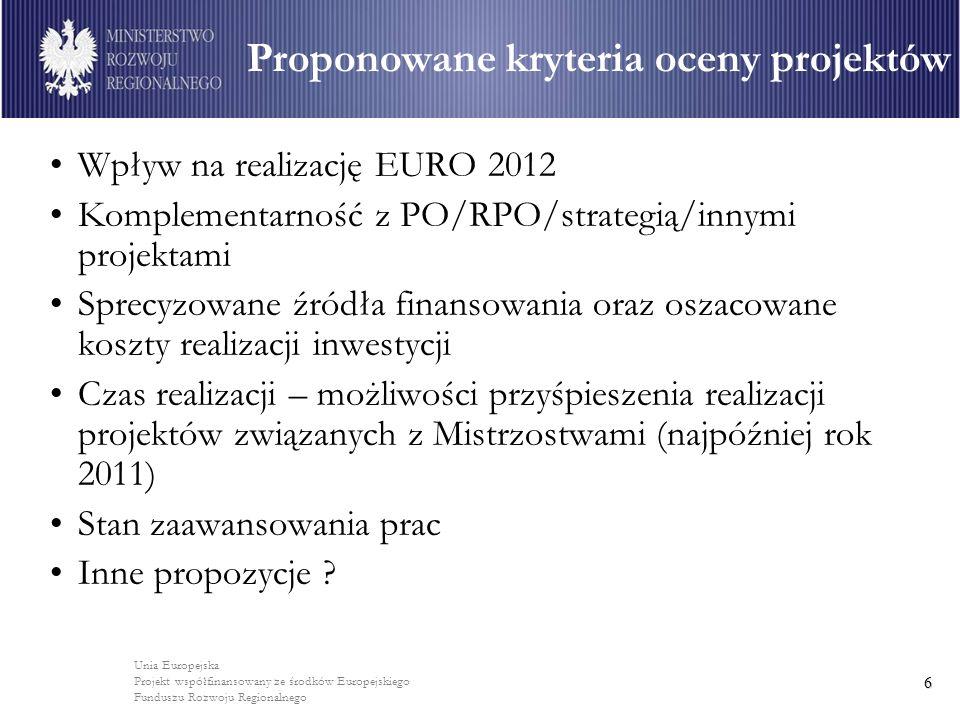 Unia Europejska Projekt współfinansowany ze środków Europejskiego Funduszu Rozwoju Regionalnego 6 Wpływ na realizację EURO 2012 Komplementarność z PO/RPO/strategią/innymi projektami Sprecyzowane źródła finansowania oraz oszacowane koszty realizacji inwestycji Czas realizacji – możliwości przyśpieszenia realizacji projektów związanych z Mistrzostwami (najpóźniej rok 2011) Stan zaawansowania prac Inne propozycje .
