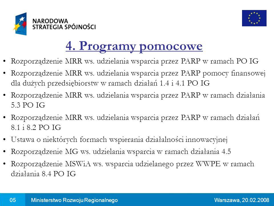 05Ministerstwo Rozwoju RegionalnegoWarszawa, 20.02.2008 4. Programy pomocowe Rozporządzenie MRR ws. udzielania wsparcia przez PARP w ramach PO IG Rozp