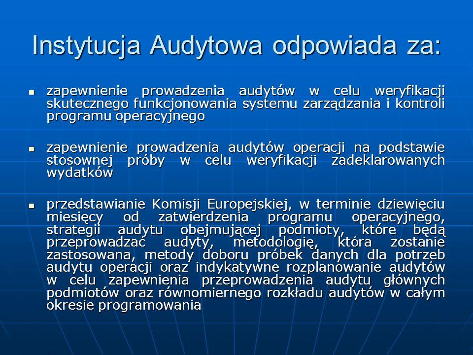 Instytucja Audytowa odpowiada za: zapewnienie prowadzenia audytów w celu weryfikacji skutecznego funkcjonowania systemu zarządzania i kontroli program
