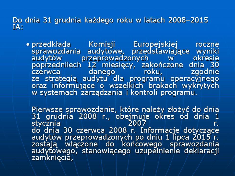 Do dnia 31 grudnia każdego roku w latach 2008–2015 IA: przedkłada Komisji Europejskiej roczne sprawozdania audytowe, przedstawiające wyniki audytów pr