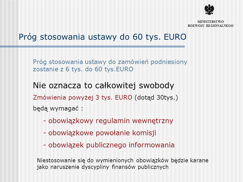 Ograniczony zasięg nowelizacji Ze względu na konieczność pilnego przekazania projektu do Sejmu, aby zmiany mogły zostać wprowadzone łącznie z wdrożeniem dyrektyw wspólnotowych MINISTERSTWO ROZWOJU REGIONALNEGO