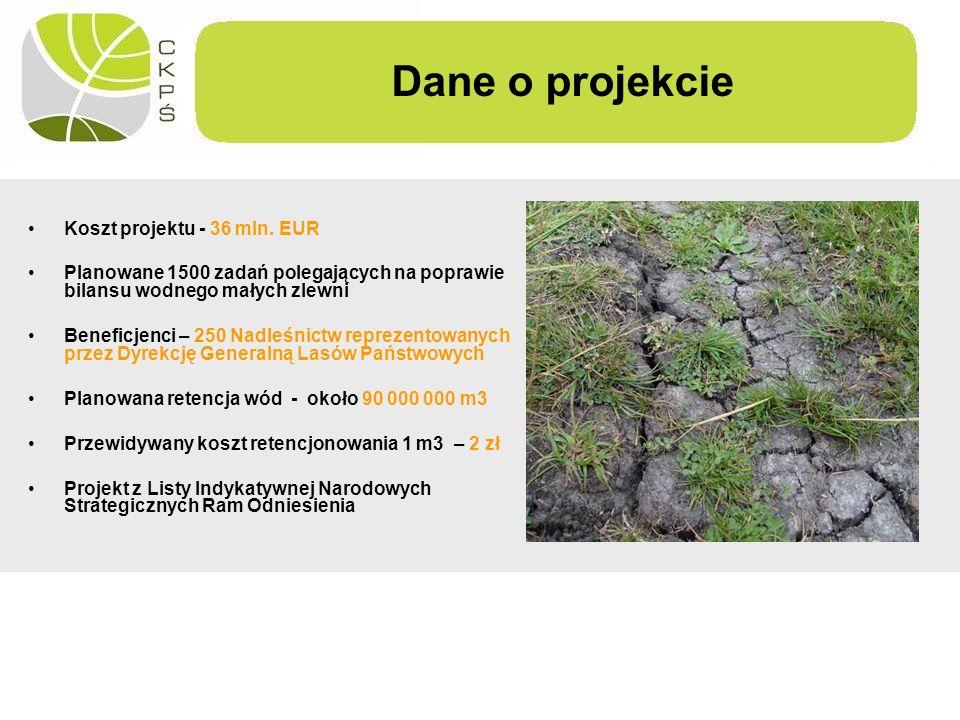 Koszt projektu - 36 mln. EUR Planowane 1500 zadań polegających na poprawie bilansu wodnego małych zlewni Beneficjenci – 250 Nadleśnictw reprezentowany