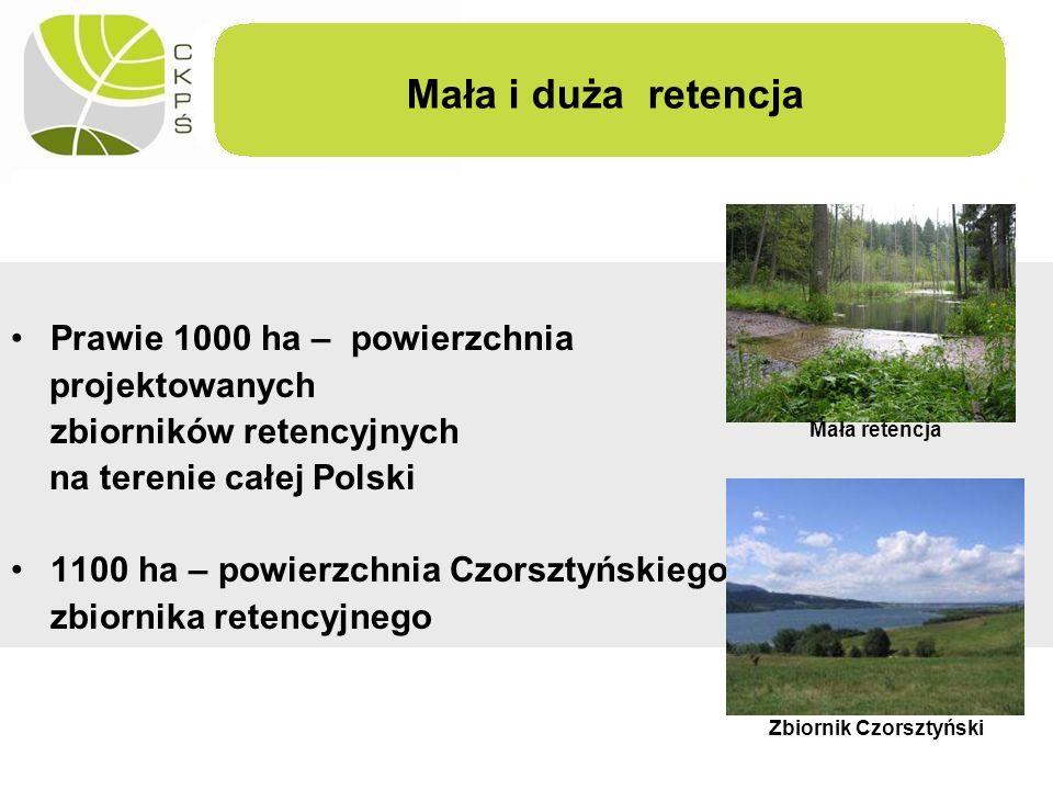 Mała i duża retencja Prawie 1000 ha – powierzchnia projektowanych zbiorników retencyjnych na terenie całej Polski 1100 ha – powierzchnia Czorsztyńskie