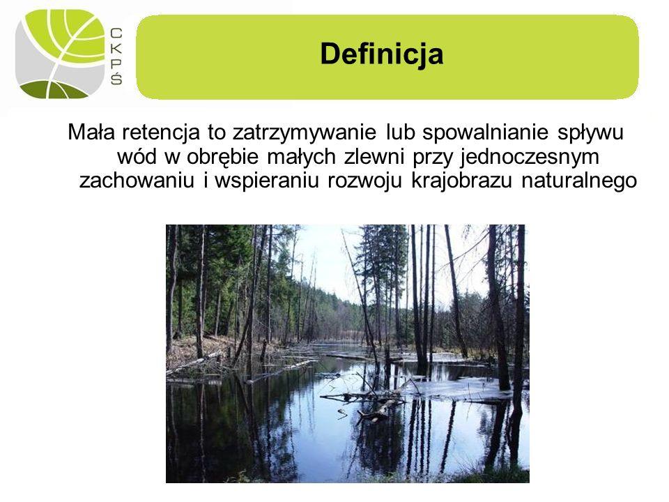 Definicja Mała retencja to zatrzymywanie lub spowalnianie spływu wód w obrębie małych zlewni przy jednoczesnym zachowaniu i wspieraniu rozwoju krajobr