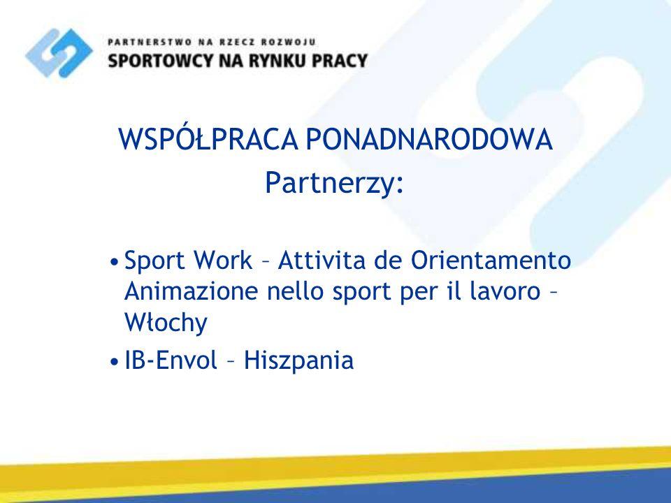 WSPÓŁPRACA PONADNARODOWA Partnerzy: Sport Work – Attivita de Orientamento Animazione nello sport per il lavoro – Włochy IB-Envol – Hiszpania