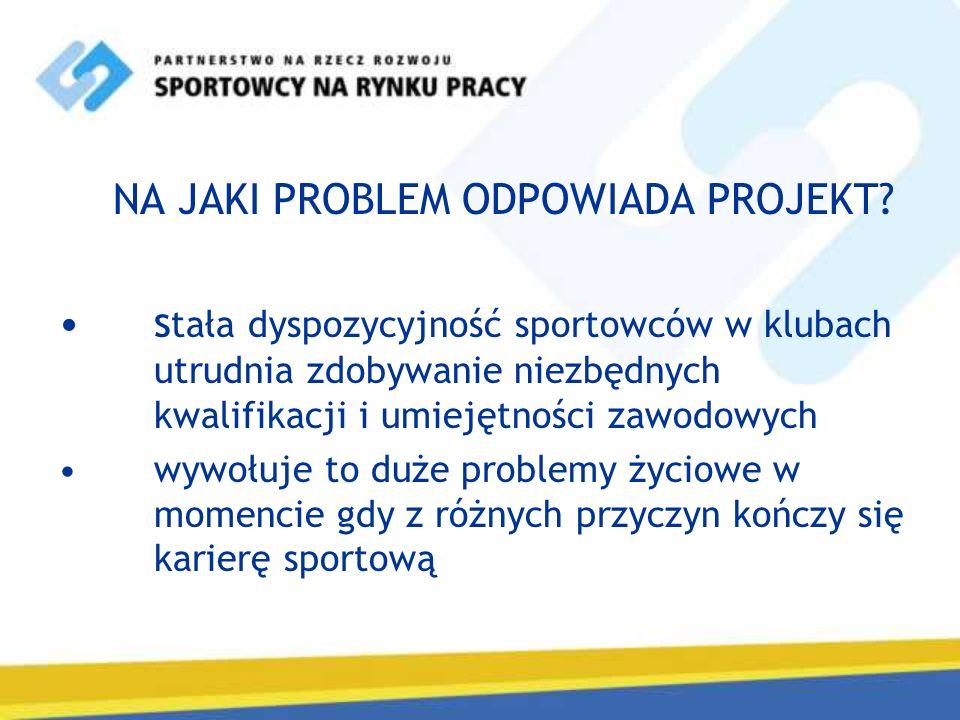 NA JAKI PROBLEM ODPOWIADA PROJEKT? s tała dyspozycyjność sportowców w klubach utrudnia zdobywanie niezbędnych kwalifikacji i umiejętności zawodowych w
