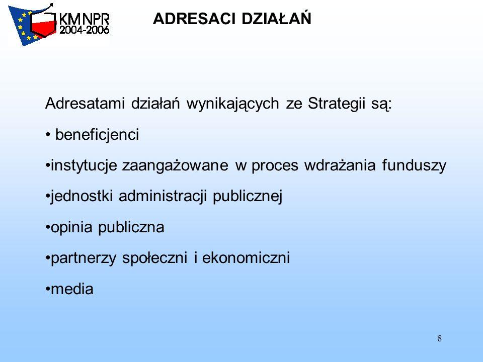 8 ADRESACI DZIAŁAŃ Adresatami działań wynikających ze Strategii są: beneficjenci instytucje zaangażowane w proces wdrażania funduszy jednostki adminis