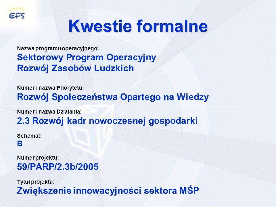 Kwestie formalne Nazwa programu operacyjnego: Sektorowy Program Operacyjny Rozwój Zasobów Ludzkich Numer i nazwa Priorytetu: Rozwój Społeczeństwa Opartego na Wiedzy Numer i nazwa Działania: 2.3 Rozwój kadr nowoczesnej gospodarki Schemat: B Numer projektu: 59/PARP/2.3b/2005 Tytuł projektu: Zwiększenie innowacyjności sektora MŚP