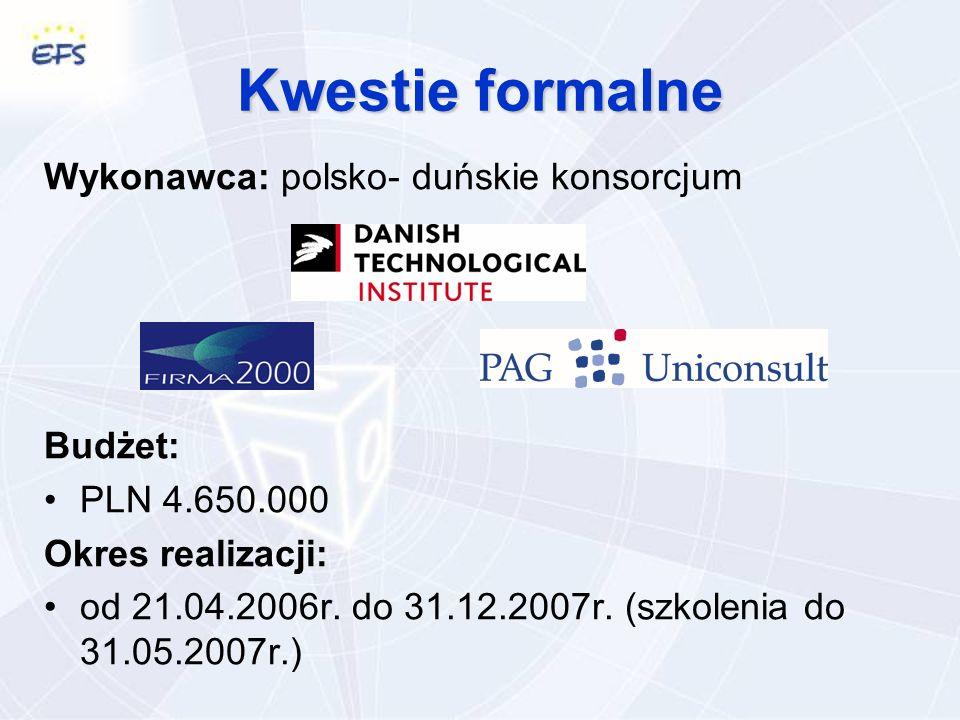 Kwestie formalne Wykonawca: polsko- duńskie konsorcjum Budżet: PLN 4.650.000 Okres realizacji: od 21.04.2006r.