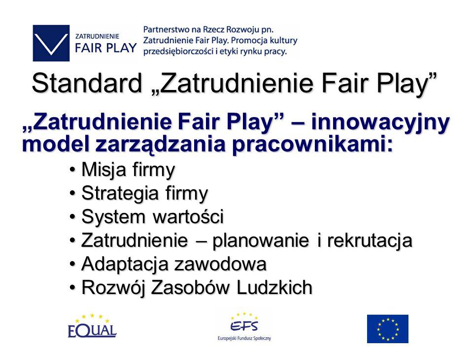Standard Zatrudnienie Fair Play Zatrudnienie Fair Play – innowacyjny model zarządzania pracownikami: Misja firmy Misja firmy Strategia firmy Strategia