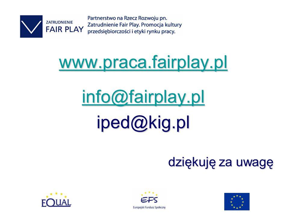 www.praca.fairplay.pl info@fairplay.pl iped@kig.pl dziękuję za uwagę