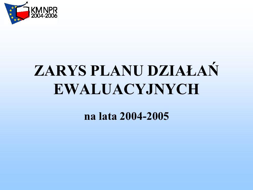 ZARYS PLANU DZIAŁAŃ EWALUACYJNYCH na lata 2004-2005