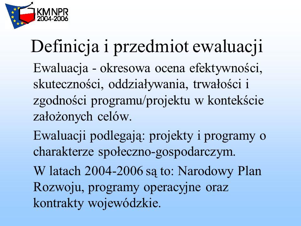 Definicja i przedmiot ewaluacji Ewaluacja - okresowa ocena efektywności, skuteczności, oddziaływania, trwałości i zgodności programu/projektu w kontekście założonych celów.