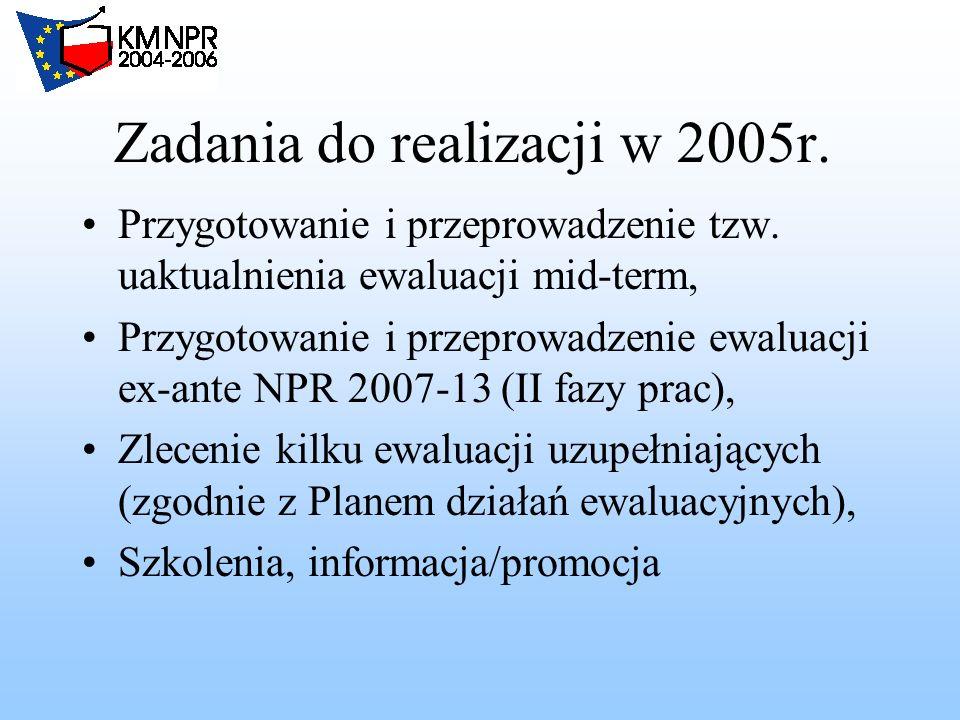 Zadania do realizacji w 2005r. Przygotowanie i przeprowadzenie tzw.