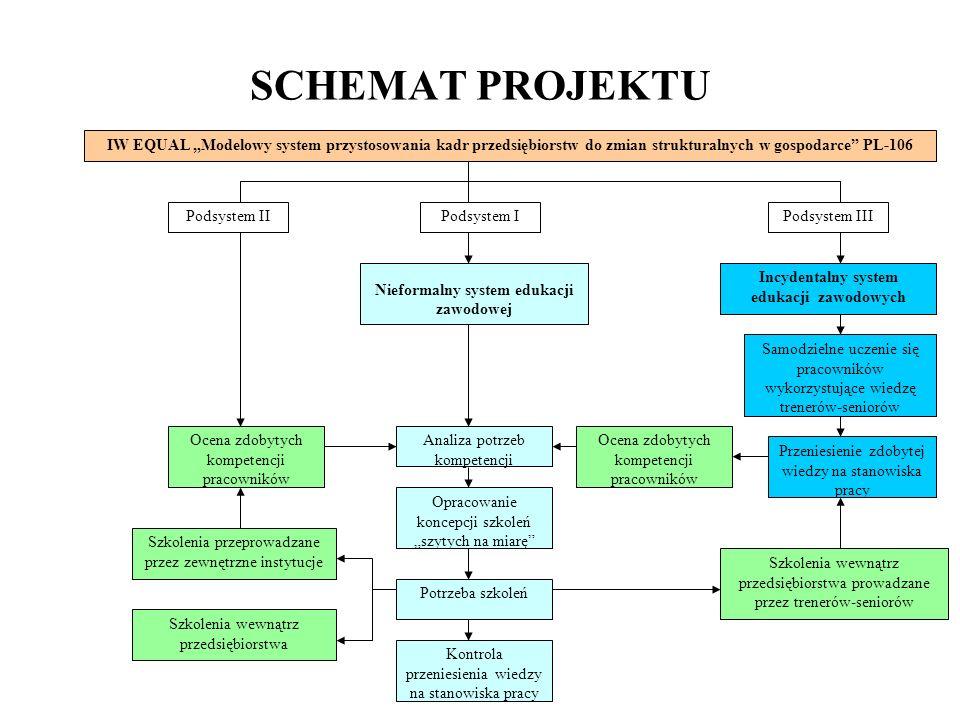 SCHEMAT PROJEKTU Szkolenia przeprowadzane przez zewnętrzne instytucje Szkolenia wewnątrz przedsiębiorstwa prowadzane przez trenerów-seniorów Nieformal