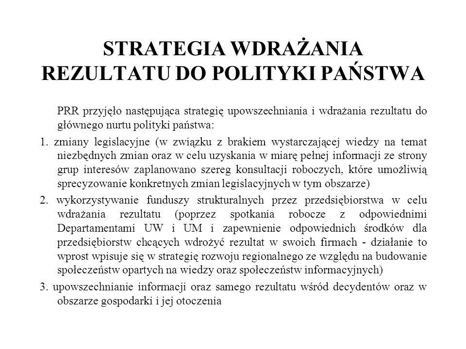 STRATEGIA WDRAŻANIA REZULTATU DO POLITYKI PAŃSTWA PRR przyjęło następująca strategię upowszechniania i wdrażania rezultatu do głównego nurtu polityki