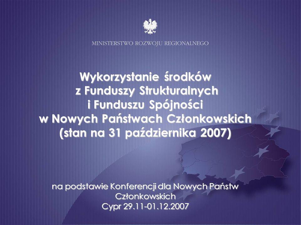 Wykorzystanie środków z Funduszy Strukturalnych i Funduszu Spójności w Nowych Państwach Członkowskich (stan na 31 października 2007) na podstawie Konferencji dla Nowych Państw Członkowskich Cypr 29.11-01.12.2007