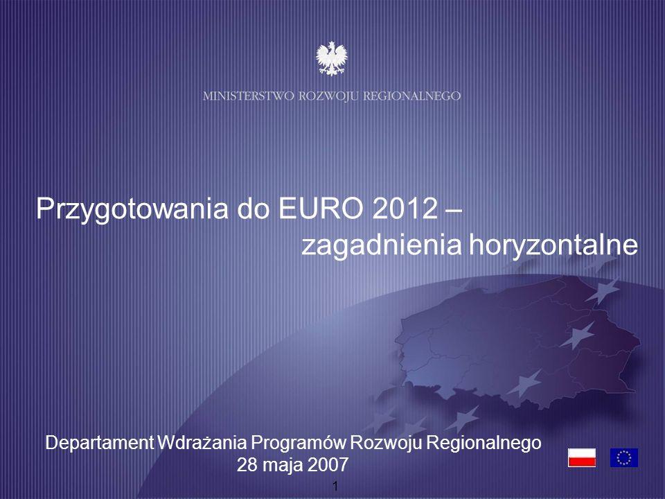 1 Przygotowania do EURO 2012 – zagadnienia horyzontalne Departament Wdrażania Programów Rozwoju Regionalnego 28 maja 2007