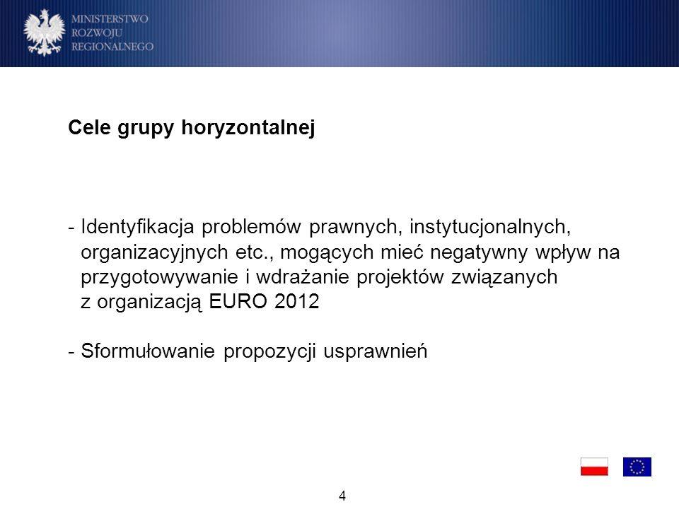 4 Cele grupy horyzontalnej -Identyfikacja problemów prawnych, instytucjonalnych, organizacyjnych etc., mogących mieć negatywny wpływ na przygotowywanie i wdrażanie projektów związanych z organizacją EURO 2012 -Sformułowanie propozycji usprawnień